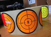 Target Stickers Roll of 250 x 85mm in Fluorescent Orange