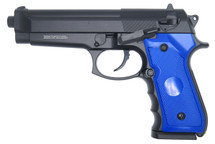 Double Eagle M296 Spring powered M92 Metal Pistol in blue
