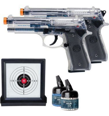 Umarex Beretta 92FS 2 x Spring Airsoft Pistol kit with target and bb's (2274008)