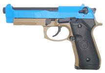 Double Bell 736-S - M92 GBB BB Gun Pistol in Blue & Tan