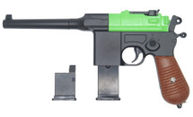 Galaxy G12 Broom Handle Mauser C96 Style pistol in Radioactive Green