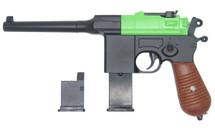 Galaxy G12 Broom Handle Mauser C96 Style pistol in Radioactive Green