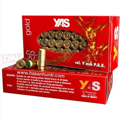 YAS Gold 9mm Shootings Blanks - pack of 50