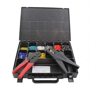 Wire Ferrule Crimping Kit - (ferrules 500 each of : 11810025, 1181034, 1181050, 1181075, 1181010, 1181015; 300 pcs of 1181025; 200 pcs. 11101040; 100 pcs 11121060; plus  wire stripping tool and wire crimping tool) (AE_CRIMPKIT)