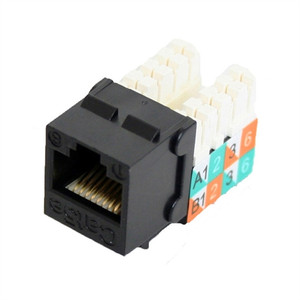 CAT5E SLIM-STYLE KEYSTONE JACKS, 8P8C, BLACK, UL (questt_NKJ-5501)