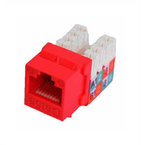 CAT5E SLIM-STYLE KEYSTONE JACKS, 8P8C, RED, UL (questt_NKJ-5503)
