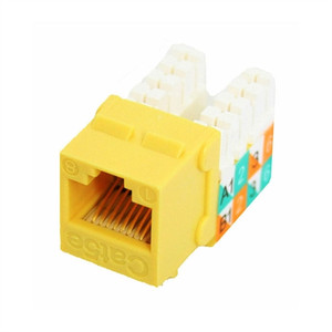 CAT5E SLIM-STYLE KEYSTONE JACKS, 8P8C, YELLOW, UL (questt_NKJ-5505)
