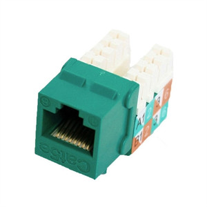 CAT5E SLIM-STYLE KEYSTONE JACKS, 8P8C, GREEN, UL (questt_NKJ-5506)