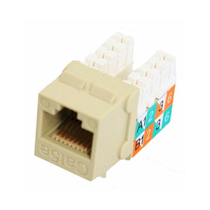 CAT5E SLIM-STYLE KEYSTONE JACKS, 8P8C, IVORY, UL (questt_NKJ-5507)