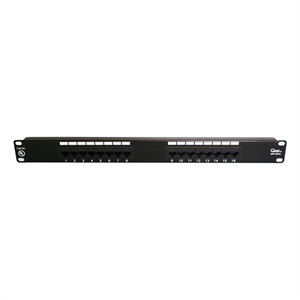 "CAT5E 19"" PATCH PANEL, 16 PORT, 8P8C, EIA568A/B, 1RU, UL (questt_NPP-5016)"
