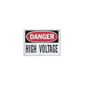 """Safety Sign, Spanish, ""Danger High Voltage"", Adhesive"" (44-865)"