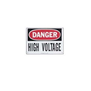 """Safety Sign, ""Danger High Voltage Keep Out"", Adhesive"" (44-881)"