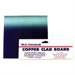 We offer 1/16; 1/32 and 1/64 FR4 laminate with 1 ounce copper per square foot. This flame retardant laminate is translucent in color and made of continuous woven glass cloth impregnated with epoxy resin. The copper on 1 ounce boards is 1.34mil thick (0.03