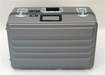 Heavy-Duty Polyethylene ATA Cases with Recessed Hardware. The exterior shell is tough impact resistant HMW polyethylene. Heavy-Duty aluminum rim and gasket; cardholder; combination lock; full length piano hinge and spring loaded handle.  This case comes w