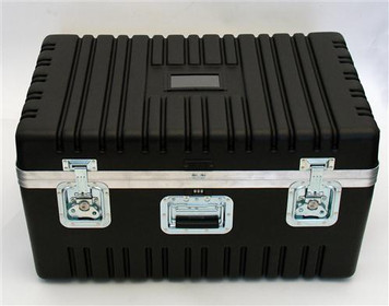 Heavy-Duty Polyethylene ATA Cases with Recessed Hardware. The exterior shell is tough impact resistant HMW polyethylene. Heavy-Duty aluminum rim and gasket; card holder; combination lock; full length piano hinge and three spring loaded handles. This ser