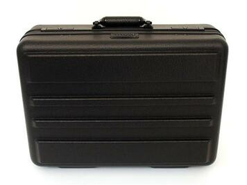 Molded HMW polyethylene with durable ribbed shell. Features attractive black anodized frame; all black hardware; including recessed key lock; deluxe golf grip handle and full-length piano hinge. This quality case comes standard with molded adjustable bott