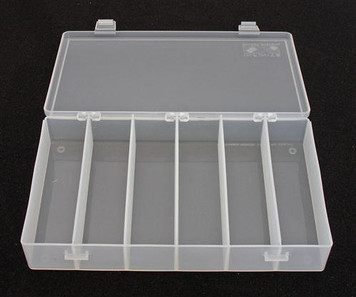 "The ultimate storage container for small parts. Dividers are moveable in 1/16"" increments providing flexibility in organized space. Resistant to oil; solvents;and most common chemicals. Sold in master pack quantity only.Dividers sold seperately. Please s"