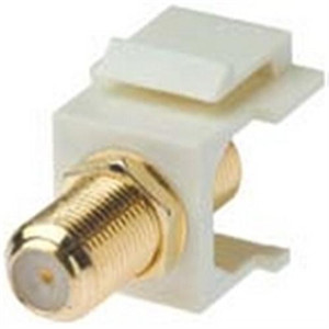 """""""3 GHz F-CONNECTOR - KEYSTONE SNAP-IN INSERT, FEMALE-FEMALE, GOLD PLATED, UL - WHITE"""" (209-3GHZ-WT)"""