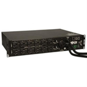 """2.9kW Single-Phase ATS / Switched PDU, 120V Outlets (24 5-15/20R, 1 L5-30R) 2 L5-30P, 2 10ft Cords, 2U Rack-Mount"" (tripp_PDUMH30ATNET)"