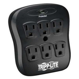 """""""6-Outlet Surge Protector, Direct Plug-In, 540 Joules, Diagnostic LED, Black Casing"""" (tripp_SK6-0B)"""