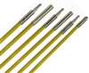 """""""24' Fiberglass Wire Fishing Kit, 1/4"""" diameter, 2-3' & 3-6' polymer coated rods, includes connectors & 2 tips, bright yellow, clear carrying case"""" (besm_FIB107)"""