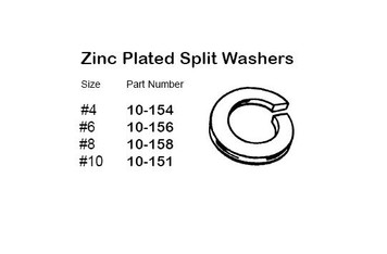 """Philmore 10-154 Steel Zinc Plated Split Washer, #4, 50 Pack"" (lkg_10-154)"