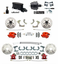 1958-68 Fullsize Chevy Front Rear Wilwood Disc Brake Kit, Red Wilwood Calipers