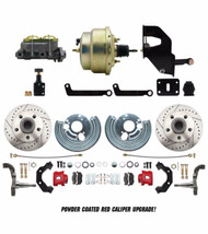 DBK6272LXR-MP-203- Mopar B & E-Body Complete Stock Height Disc Brake Kit, Performance D/S Rotors & Red Powder Coated Calipers