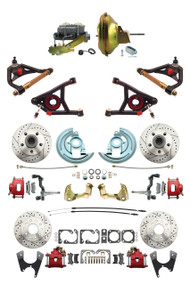 "GM 1967-72 A-Body Front & Rear Disc Brakes, Red PC Calipers, 11"" Power & Control Arm Package"