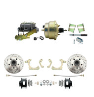 "DBK5964LXB-GMFS2-205 - 1959-1964 GM Full Size Front Disc Brake Kit Black Powder Coated Calipers Drilled/Slotted Rotors (Impala, Bel Air, Biscayne) & 8"" Dual Zinc Booster Conversion Kit w/ Cast Iron Master Cylinder Left Mount Disc/ Drum Proportioning"