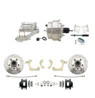 "DBK5964LXB-GMFS2-309 - 1959-1964 GM Full Size Front Disc Brake Kit Black Powder Coated Calipers Drilled/Slotted Rotors (Impala, Bel Air, Biscayne) & 8"" Dual Chrome Booster Conversion Kit w/ Flat Top Chrome Master Cylinder Left Mount Disc/ Drum Propor"