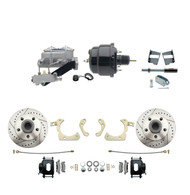 "DBK5964LXB-GMFS2-709 - 1959-1964 GM Full Size Front Disc Brake Kit Black Powder Coated Calipers Drilled/Slotted Rotors (Impala, Bel Air, Biscayne) & 8"" Dual Powder Coated Black Booster Conversion Kit w/ Aluminum Master Cylinder Left Mount Disc/ Drum"