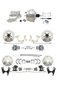 "DBK59641012FSLX-GMFS2-329 - 1959-1964 GM Full Size Disc Brake Kit Drilled/Slotted Rotors (Impala, Bel Air, Biscayne) & 8"" Dual Chrome Booster Conversion Kit w/ Flat Top Chrome Master Cylinder Left Mount Disc/ Drum Proportioning Valve Kit"