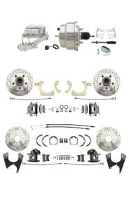 "DBK59641012FSLX-GMFS2-331 - 1959-1964 GM Full Size Disc Brake Kit Drilled/Slotted Rotors (Impala, Bel Air, Biscayne) & 8"" Dual Chrome Booster Conversion Kit w/ Chrome Master Cylinder Left Mount Disc/ Drum Proportioning Valve Kit"