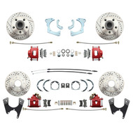 DBK59641012FSLXR - 1959-1964 Full Size Chevy Complete Disc Brake Conversion Kit w/ Powder Coated Red Calipers & Drilled/ Slotted Rotors