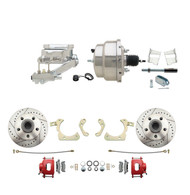 "DBK5964LXR-GMFS2-309 - 1959-1964 GM Full Size Front Disc Brake Kit Red Powder Coated Calipers Drilled/Slotted Rotors (Impala, Bel Air, Biscayne) & 8"" Dual Chrome Booster Conversion Kit w/ Flat Top Chrome Master Cylinder Left Mount Disc/ Drum Proporti"
