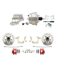 "DBK5964LXR-GMFS2-311 - 1959-1964 GM Full Size Front Disc Brake Kit Red Powder Coated Calipers Drilled/Slotted Rotors (Impala, Bel Air, Biscayne) & 8"" Dual Chrome Booster Conversion Kit w/ Chrome Master Cylinder Left Mount Disc/ Drum Proportioning Val"