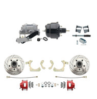 "DBK5964LXR-GMFS2-709 - 1959-1964 GM Full Size Front Disc Brake Kit Red Powder Coated Calipers Drilled/Slotted Rotors (Impala, Bel Air, Biscayne) & 8"" Dual Powder Coated Black Booster Conversion Kit w/ Aluminum Master Cylinder Left Mount Disc/ Drum Pr"