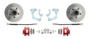 DBK5964R - 1959-1964 Full Size Chevy Complete Disc Brake Conversion Kit w/ Powder Coated Red Calipers