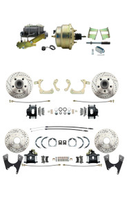 "DBK59641012FSLXB-GMFS2-211 - 1959-1964 GM Full Size Front & Rear Power Disc Brake Kit Black Powder Coated Calipers Drilled/Slotted Rotors (Impala, Bel Air, Biscayne) & 8"" Dual Zinc Booster Conversion Kit w/ Cast Iron Master Cylinder Left Mount Disc/"