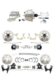 "DBK59641012FSLXB-GMFS2-331 - 1959-1964 GM Full Size Front & Rear Power Disc Brake Kit Black Powder Coated Calipers Drilled/Slotted Rotors (Impala, Bel Air, Biscayne) & 8"" Dual Chrome Booster Conversion Kit w/ Chrome Master Cylinder Left Mount Disc/ D"