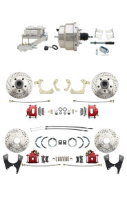 "DBK59641012FSLXR-GMFS2-331 - 1959-1964 GM Full Size Front & Rear Power Disc Brake Kit Red Powder Coated Calipers Drilled/Slotted Rotors (Impala, Bel Air, Biscayne) & 8"" Dual Chrome Booster Conversion Kit w/ Chrome Master Cylinder Left Mount Disc/ Dru"