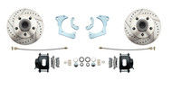 DBK6568LXB - 1965-1968 Full Size Chevy Complete Disc Brake Conversion Kit w/ Powder Coated Black Calipers & Drilled/ Slotted Rotors