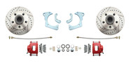 DBK6568LXR - 1965-1968 Full Size Chevy Complete Disc Brake Conversion Kit w/ Powder Coated Red Calipers & Drilled/ Slotted Rotors