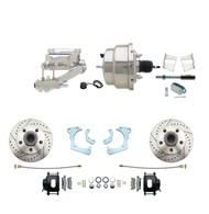 "DBK6568LXB-GMFS3-309 - 1965-1968 GM Full Size Front Disc Brake Kit Black Powder Coated Calipers Drilled/Slotted Rotors (Impala, Bel Air, Biscayne) & 8"" Dual Chrome Booster Conversion Kit w/ Flat Top Chrome Master Cylinder Left Mount Disc/ Drum Propor"