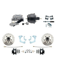 "DBK6568LXB-GMFS3-709 - 1965-1968 GM Full Size Front Disc Brake Kit Black Powder Coated Calipers Drilled/Slotted Rotors (Impala, Bel Air, Biscayne) & 8"" Dual Powder Coated Black Booster Conversion Kit w/ Aluminum Master Cylinder Left Mount Disc/ Drum"