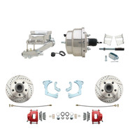 "DBK6568LXR-GMFS3-309 - 1965-1968 GM Full Size Front Disc Brake Kit Red Powder Coated Calipers Drilled/Slotted Rotors (Impala, Bel Air, Biscayne) & 8"" Dual Chrome Booster Conversion Kit w/ Flat Top Chrome Master Cylinder Left Mount Disc/ Drum Proporti"