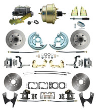 "DBK64721012-GM-215 - 1964-1972 GM A Body Front & Rear Power Disc Brake Conversion Kit Standard Rotors w/ 8""Dual Zinc Booster Kit"