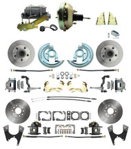 "DBK64721012-GM-217 - 1964-1972 GM A Body Front & Rear Power Disc Brake Conversion Kit Standard Rotors w/ 9"" Dual Zinc Booster Kit"