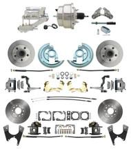 """DBK64721012-GM-328 - 1964-1972 GM A Body Front & Rear Power Disc Brake Conversion Kit Standard Rotors w/8"""" Dual Chrome Flat Top Booster Kit"""